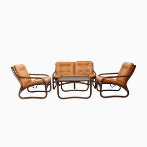 Italienische Wohnzimmergarnitur aus Bambus, Rattan & Leder, 1970er, 4er Set