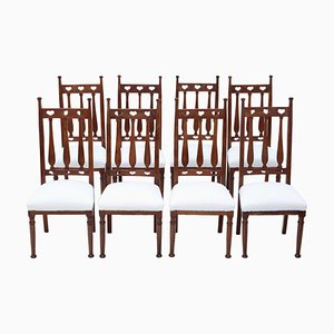 Mahogany Art Nouveau Dining Chairs, 1910, Set of 8