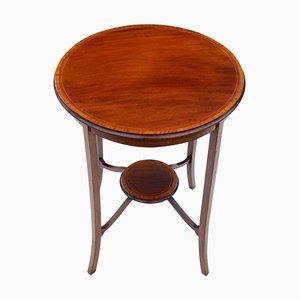 Edwardianischer runder Tisch aus Mahagoni mit Intarsien, 1910er