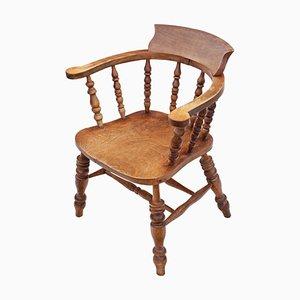 Viktorianischer Schreibtischstuhl aus Ulmenholz & Buche