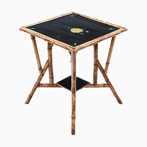 Bamboo Black Lacquer Occasional Window Table, 1900s