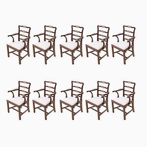 Mahogany Georgian Dining Chairs with Ribbon Back, 1825, Set of 10