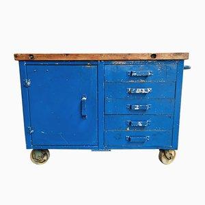 Industrial Blue Workbench Trolley