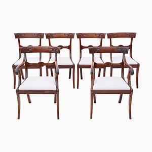 Regency Cuban Mahogany Dining Chairs, 19th-Century, Set of 6