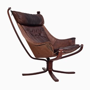 Norwegian Leather Lounge Chair by Sigurd Resell for Vatne Møbler, 1970s