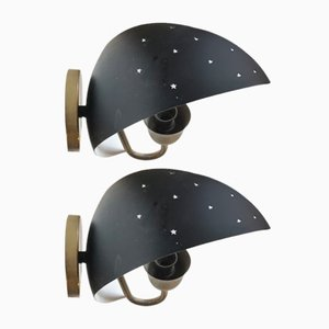 Scandinavian Starry Night Wall Sconces from Fog & Mørup, 1950s, Set of 2