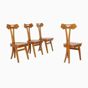 Chairs in Beech Wood Attributed to Giovanni Michelucci, Set of 4