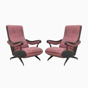 Purple Extendable Lounge Chairs by Marco Zanuso, Italy, 1960s, Set of 2