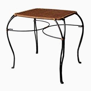 Skandinavischer Vintage Weintisch aus Rattan & Schwarzem Eisen