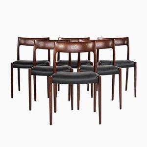Dänische Mid-Century Stühle aus Palisander von Niels Otto Møller für JL Møllers Møbelfabrik, 6er Set