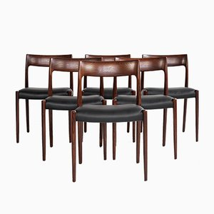 Mid-Century Danish Chairs in Rosewood by Niels Otto Møller for J.L. Møllers Møbelfabrik, Set of 6