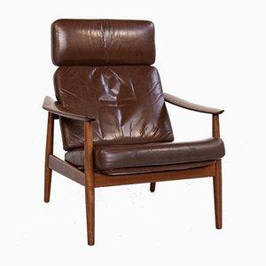 Dänischer Mid-Century Sessel aus Teak & Leder von Arne Vodder für France & Søn, 1960er