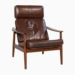 Mid-Century Danish Lounge Chair in Teak and Leather by Arne Vodder for France & Søn, 1960s