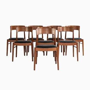 Chaises de Salle à Manger Mid-Century en Teck par Henning Kjaernulf pour Korup Stolefabrik, Danemark, Set de 8