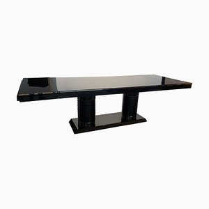 Art Deco Expandable Table in Black Lacquer with Metal Trim, France, 1930s