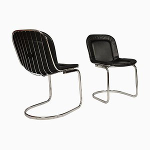 Mid-Century Chrome & Leather Chairs by Gastone Rinaldi, 1970s, Set of 2