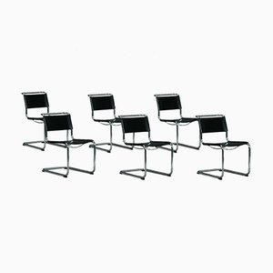 Bauhaus Black Leather S33 Cantilever Chair by Stam for Thonet
