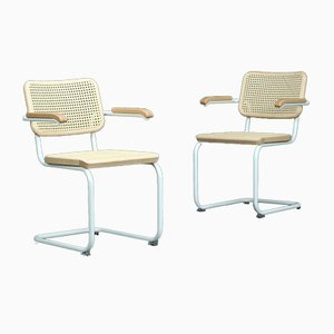 Bauhaus White Ash S64 V Cantilever Chair by Breuer for Thonet