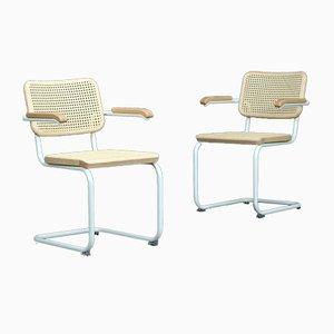 Sedia cantilever S64 V Bauhaus in frassino bianco di Breuer per Thonet