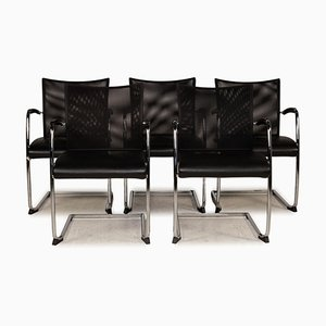 Leather Chairs in Black Mesh from Züco, Set of 5