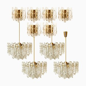 6 Wall Sconces and 4 Chandeliers in Ice Glass from Kalmar, Set of 10