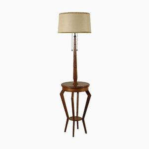 Tanganyika Walnut Veneer, Beech & Fabric Lamp, Italy, 1940s or 1950s
