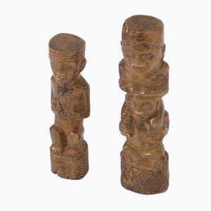 Miniature Bronze Figurines, Congo, 1950s, Set of 2