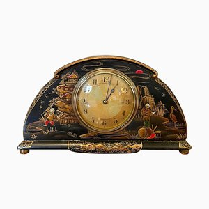 Antique Lacquered Chinoiserie Desk Clock
