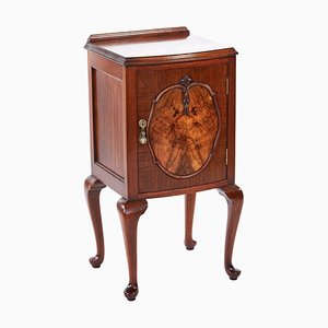 Antique Walnut Bow Front Nightstand