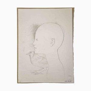 Leo Guida, Junge und Vogel, Originalzeichnung, 1970er