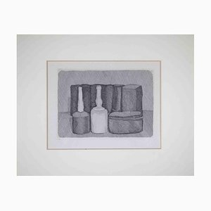Acquaforte originale Giorgio Morandi, Natura morta con nove oggetti, 1954