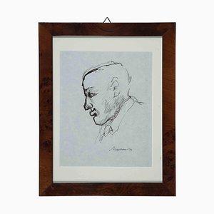 Mino Maccari, Portrait of Giorgio Morandi, Original Drawing, 1930s or 1940s