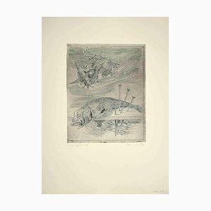 Leo Guida, Stillleben mit Vögeln, Original Radierung, 1970er