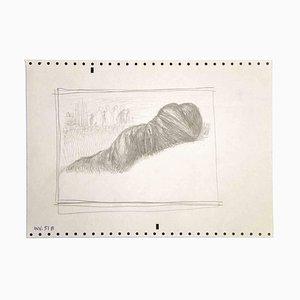 Leo Guida, The Silkworm Figure, Original Pencil Drawing, 1970s
