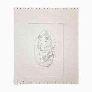 Leo Guida, Nude Sybil, Original Pencil Drawing, 1970s