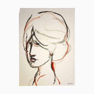 Leo Guida, Portrait, Dessin Original à l'Aquarelle, 1970s
