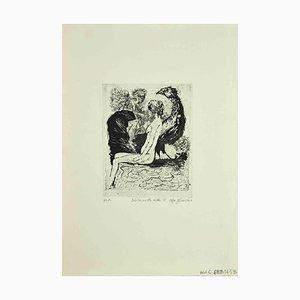 Leo Guida, Sibyl, Bird, Veiled, Etching, 1972