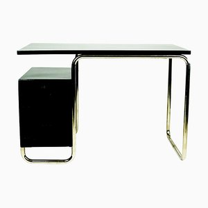 Bauhaus Schreibtisch aus schwarz lackiertem Buchenholz und verchromtem Stahlrohr