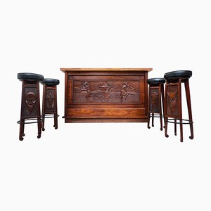 Mid-Century Modern Wooden African Bar with 4 Stools, 1950s