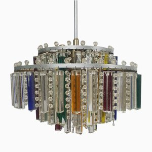 Mid-Century Murano and Crystal Glass Chandelier, 1960s
