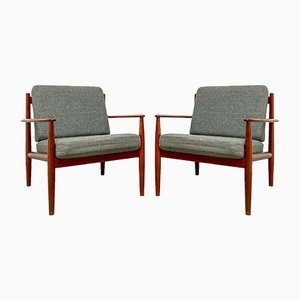 Danish Teak Easy Lounge Chairs by Grete Jalk for France & Son / France & Daverkosen, 1960s, Set of 2