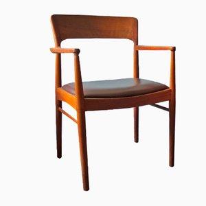 Mid-Century Danish Teak and Leather Desk Chair, 1960s