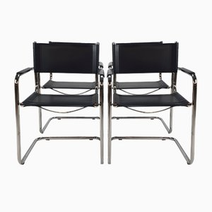 Bauhaus Cantilever Tubular and Leather Armchairs, 1970s, Set of 4