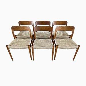 Vintage Danish Restored Teak & Papercord Model 75 Chairs by Niels Otto Møller for JL Møllers, Set of 6