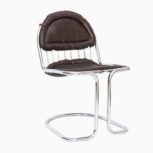 Steel Tube Cantilever Chair with Imitation Leather Cover