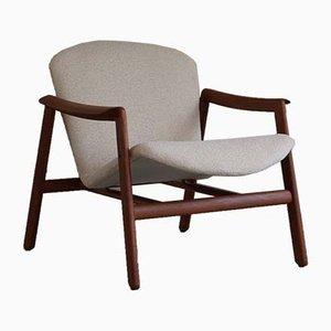Mid-Century Danish Lounge Chair in Teak and Bouclé, 1960s