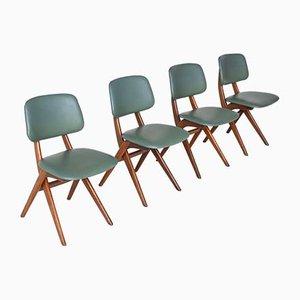 Scissor Esszimmerstühle von Louis Van Teeffelen für Webe, Niederlande, 1960er, 4er Set