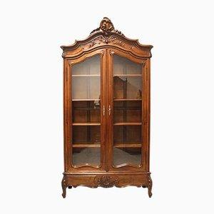 Antikes Bücherregal aus Nussholz & Glas