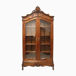 Antique Display Bookcase in Walnut & Glass