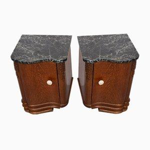 Art Deco Oak Nightstands, Set of 2